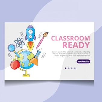 Vetor de página de destino pronto para sala de aula