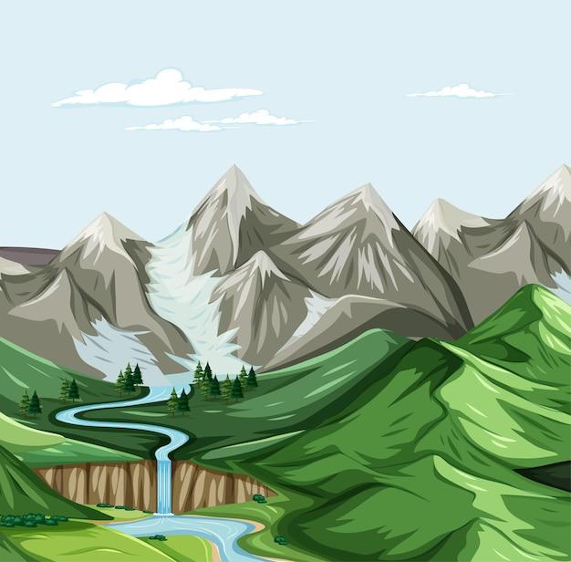 Vetor de paisagem geográfica da natureza