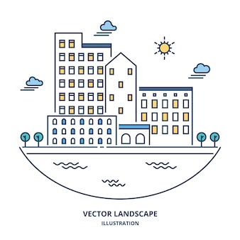 Vetor de paisagem urbana. ilustração de estilo de linha fina.