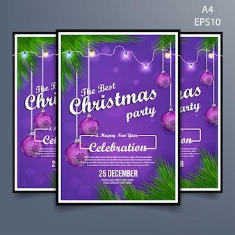 Vetor de panfleto de festa de natal