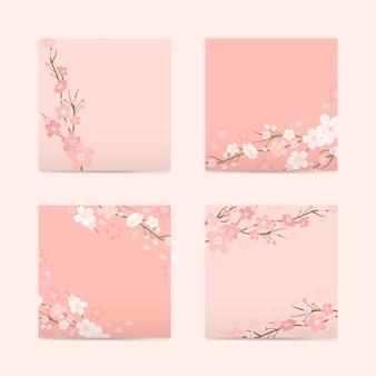 Vetor de papel de flor de cerejeira quadrado rosa