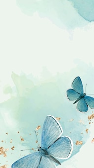 Vetor de papel de parede de celular com padrão de borboletas azuis