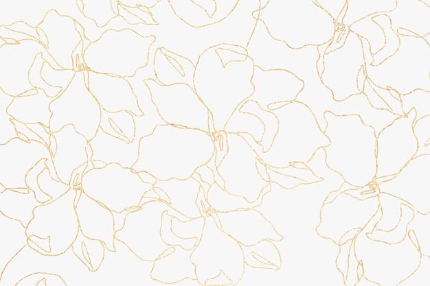 Vetor de papel de parede de padrão floral com flor de ouro desenhada à mão