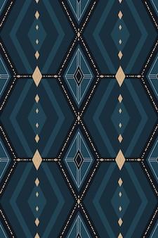 Vetor de papel de parede estampado geométrico de azul marinho sem costura