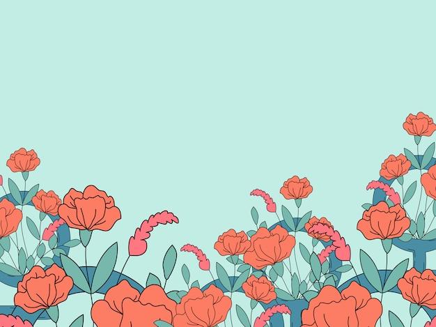 Vetor de papel de parede feminista floral e colorido