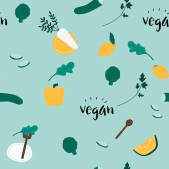 Vetor de papel de parede sem costura vegan saudável
