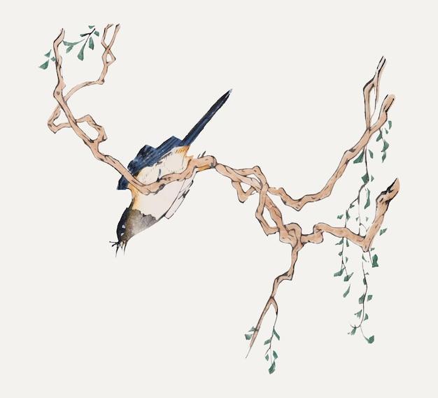 Vetor de pássaro pousado em uma ilustração de árvore, remixada de obras de arte de hu zhengyan