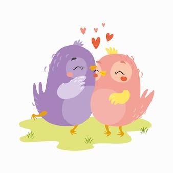 Vetor de pássaros apaixonados no prado. dia dos namorados