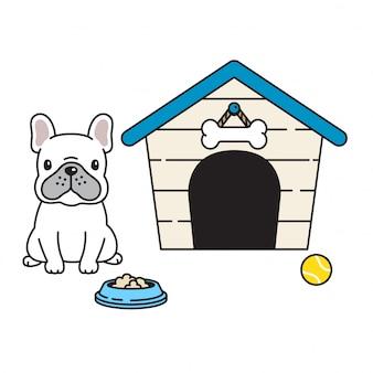 Vetor de pata de cachorro buldogue francês casa tigela bola dos desenhos animados