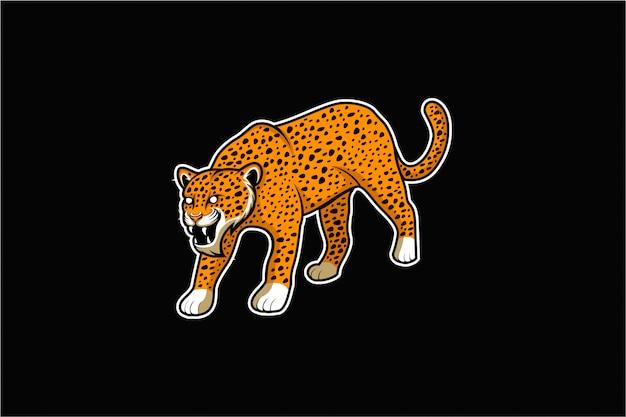 Vetor de pé jaguar com raiva