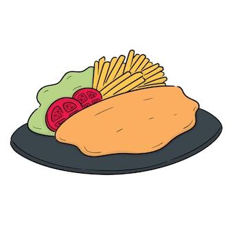 Vetor de peixe e batatas fritas