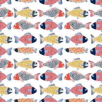 Vetor de peixe padrão desenhado à mão