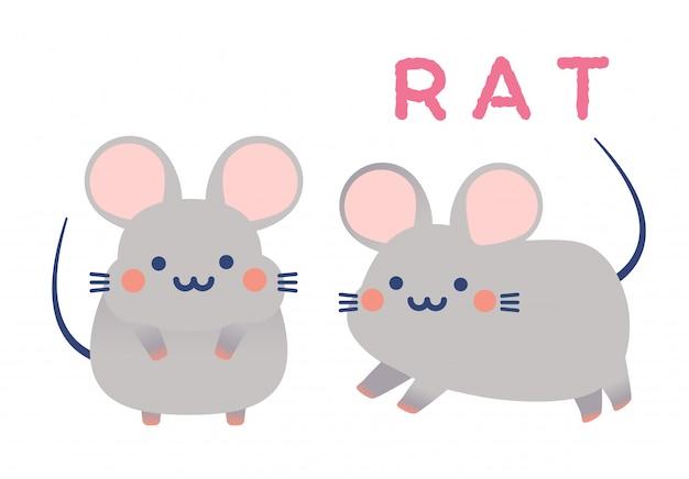 Vetor de pequenos ratos cute casal