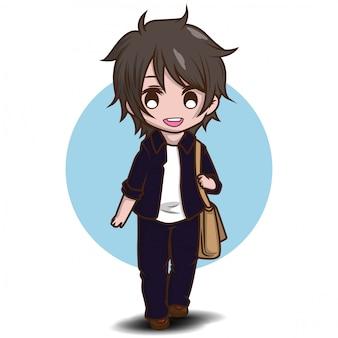 Vetor de personagem adolescente estudante bonito. de volta ao conteúdo da escola.
