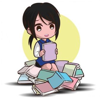 Vetor de personagem adolescente estudante bonito. volta ao conceito de escola.