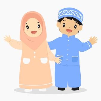 Vetor de personagem de crianças muçulmanas