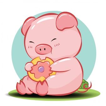 Vetor de personagem de desenho animado porco bonito.