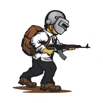 Vetor de personagem de jogo de atirador