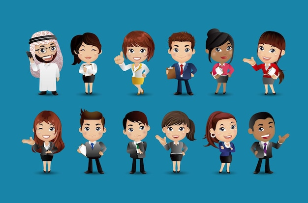 Vetor de personagens de avatares do grupo de empresários