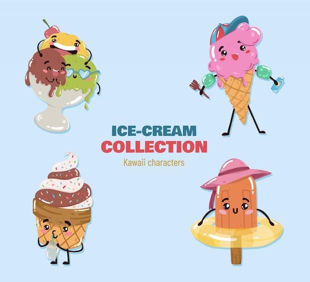 Vetor de personagens de sorvete de kawaii