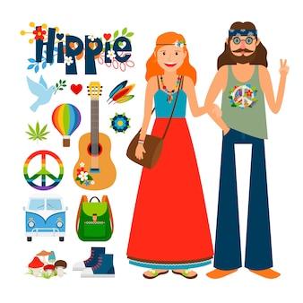 Vetor de pessoas hippie