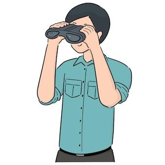 Vetor de pessoas usando binóculos