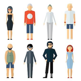 Vetor de pessoas variadas em estilo de vida diferente isolado