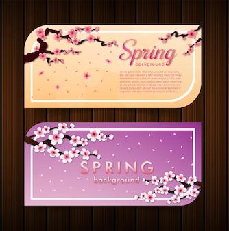 Vetor de pétalas caindo de sakura no fundo do banner de madeira