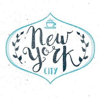 Vetor de pincel de caneta de caligrafia modelo desenhado à mão da cidade de nova york