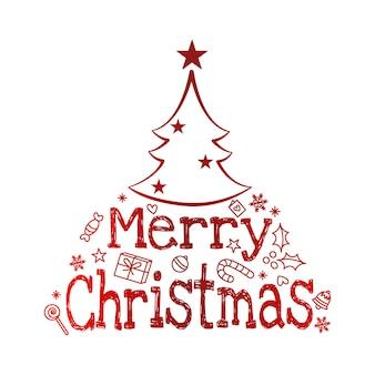 Vetor de pinheiro árvore de natal, cartaz tipográfico de feliz natal. vetor eps 10.
