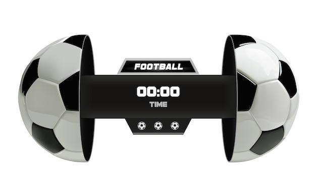 Vetor de placar de bola de futebol isolado no branco