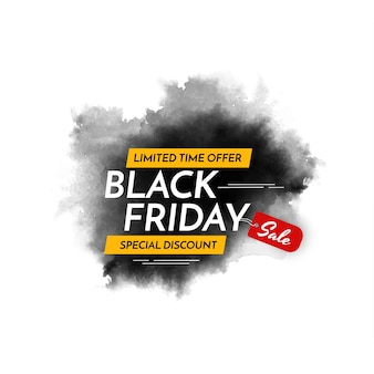 Vetor de plano de fundo de design de estilo aquarela preto de venda sexta-feira
