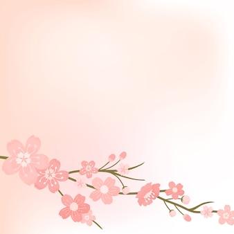 Vetor de plano de fundo em branco flor de cerejeira rosa