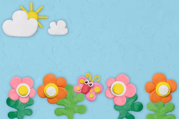 Vetor de plano de fundo texturizado de jardim de flores em artesanato de argila de plasticina azul para crianças