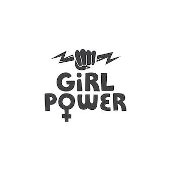 Vetor de poder feminino letras desenhadas à mão com símbolos de punho e relâmpago em estilo doodle. arte feminista
