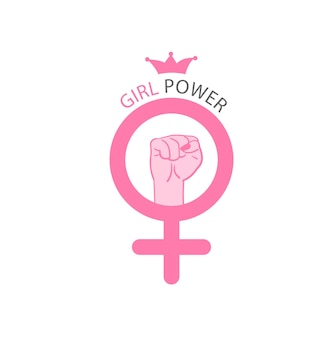 Vetor de poder feminino slogan motivacional feminino símbolo de gênero feminino e feminismo de punho levantado