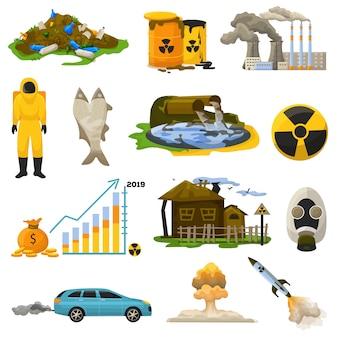 Vetor de poluição nuclear energia atômica radioativa poluindo ambiente ilustração