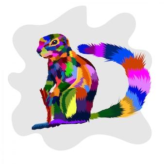 Vetor de pop art de esquilo colorfull