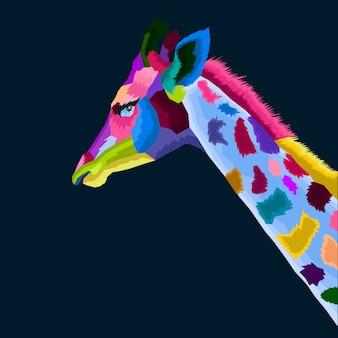 Vetor de pop art de girafa colofull