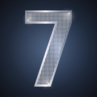 Vetor de prata brilhante número sete 7 com diamantes para cartão de aniversário ou aniversário do sétimo ano