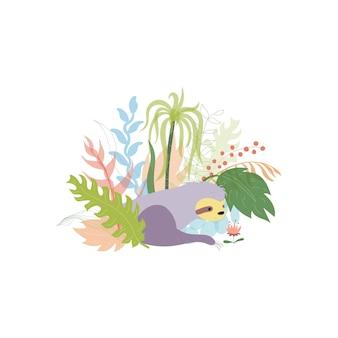 Vetor de preguiça fofo. bebê isolado dos desenhos animados subindo preguiças. pôster de animal da selva desenhado à mão