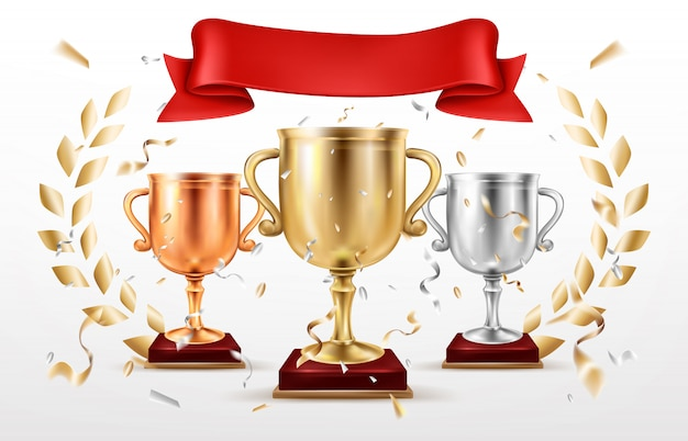 Vetor de prêmios de lugares vencedores de competição de esporte