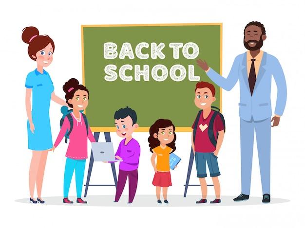 Vetor de professores e alunos. voltar à ilustração da escola