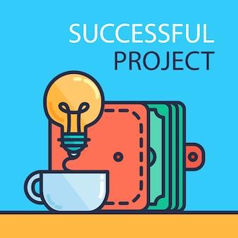 Vetor de projeto bem sucedido
