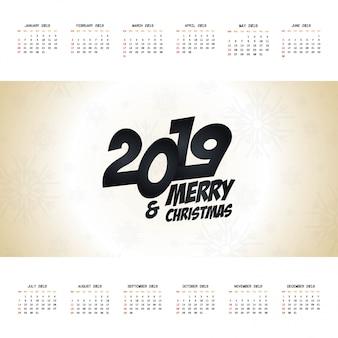 Vetor de projeto de calendário de natal de 2019
