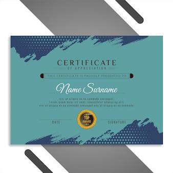 Vetor de projeto de certificado de pincelada em aquarela