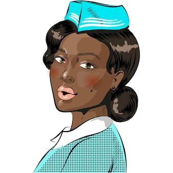 Vetor de quadrinhos pop art com comissária de bordo em branco