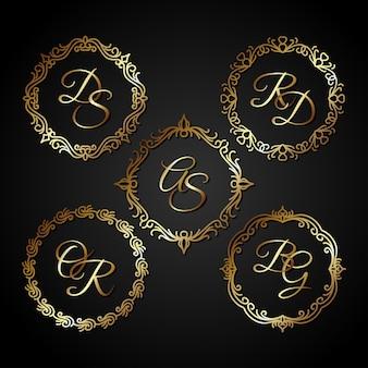 Vetor de quadro de círculo de ouro de luxo