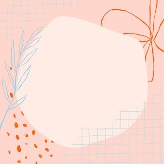 Vetor de quadro de círculo floral com rabiscos de flores em fundo rosa estético