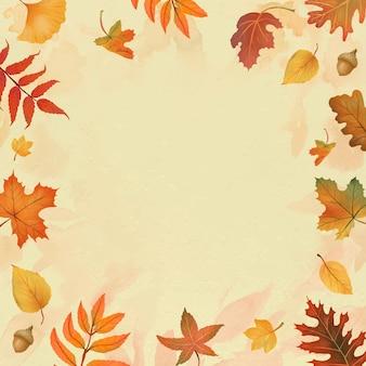 Vetor de quadro de folhas de outono em fundo amarelo